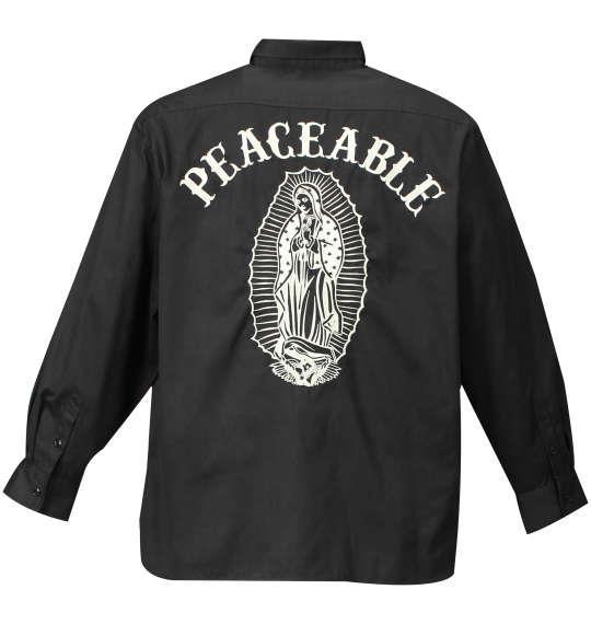 大きいサイズ メンズ SHELTY ツイルピーチ 起毛 刺繍 長袖 シャツ 長袖シャツ ブラック × ベージュ 1157-7300-2 3L 4L 5L 6L