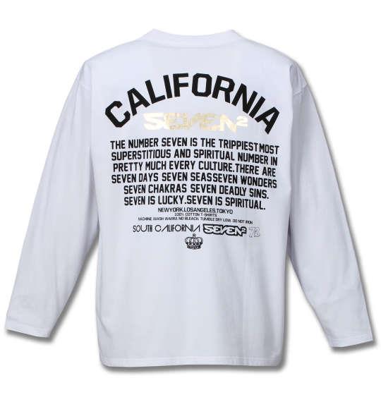 大きいサイズ メンズ SEVEN2 箔 プリント 長袖 Tシャツ 長袖Tシャツ ホワイト 1168-7310-1 3L 4L 5L 6L