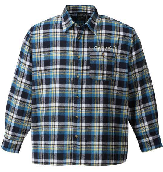 大きいサイズ メンズ Ed Hardy チェック長袖ネルシャツ ブルー 1177-7320-2 3L 4L 5L 6L