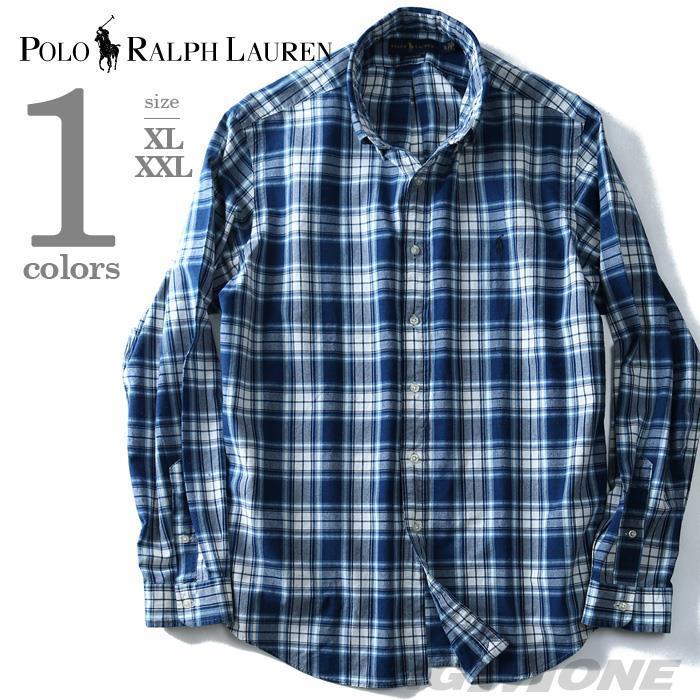 大きいサイズ メンズ POLO RALPH LAUREN ポロ ラルフローレン 長袖 シャツ チェック ボタンダウンシャツ 長袖シャツ ネイビー XL XXL USA 直輸入 710673010001