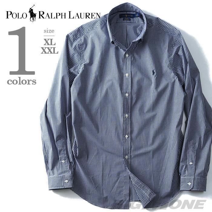 大きいサイズ メンズ POLO RALPH LAUREN ポロ ラルフローレン 長袖 シャツ チェック カジュアルシャツ 長袖シャツ ネイビー XL XXL  USA 直輸入 710673019003