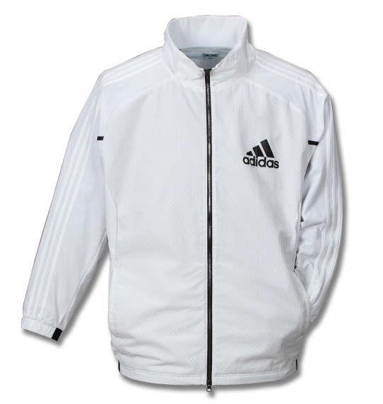 大きいサイズ メンズ adidas golf フルジップ ウインドウィズライニングジャケット 長袖 アウター ジャケット ホワイト 1173-7310-1 4XO 5XO 6XO 7XO