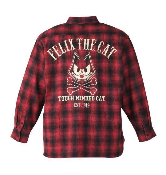 大きいサイズ メンズ FELIX THE CAT オンブレチェック長袖ネルシャツ レッド × ブラック 1177-7360-1 3L 4L 5L 6L