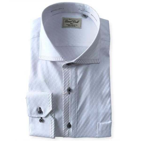 2点目半額 大きいサイズ メンズ DANIEL DODD 形態安定 長袖 Yシャツ 長袖 ワイシャツ レギュラー ホリゾンタル ストレッチ d474az103