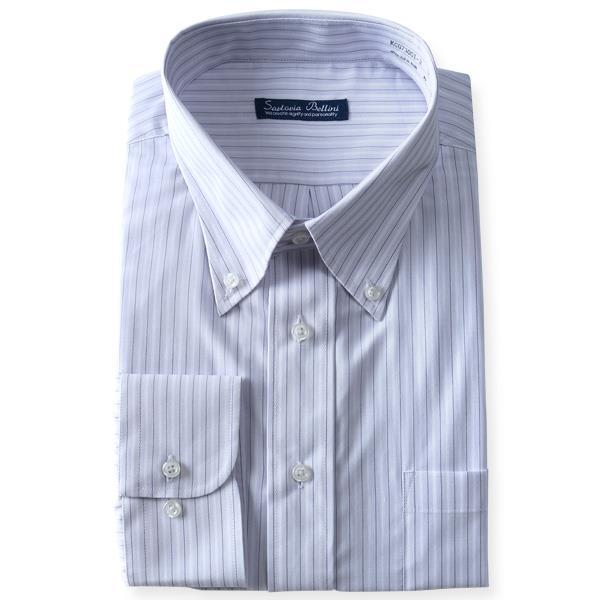 2点目半額 大きいサイズ メンズ SARTORIA BELLINI ビジネス Yシャツ 形態安定 先染め 長袖 ワイシャツ ボタンダウン ビジネスシャツ kcg73001-3
