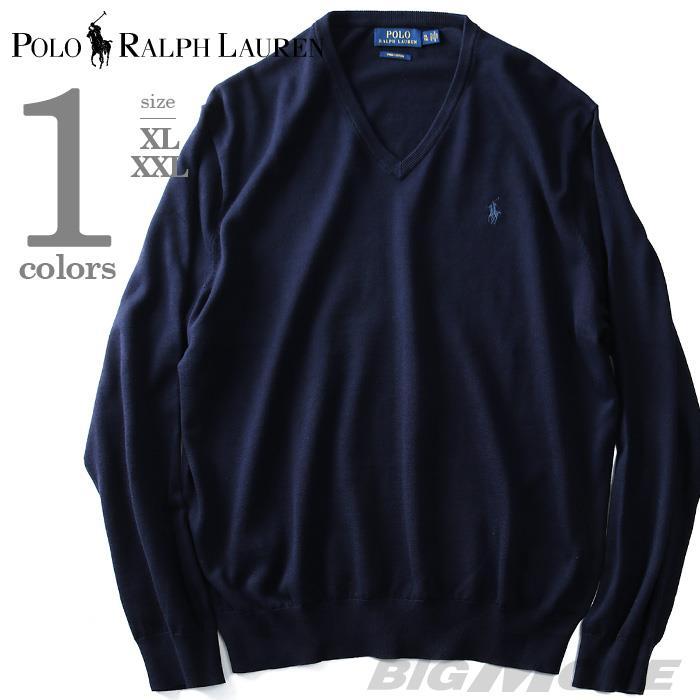 大きいサイズ メンズ POLO RALPH LAUREN ポロ ラルフローレン 無地 Vネック セーター ニット ネイビー XL XXL  USA直輸入 710682076001