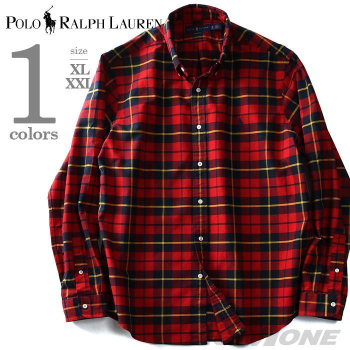 大きいサイズ メンズ POLO RALPH LAUREN ポロ ラルフローレン チェック柄 長袖 シャツ ボタンダウンシャツ カジュアルシャツ レッド XL XXL USA 直輸入 710688197001