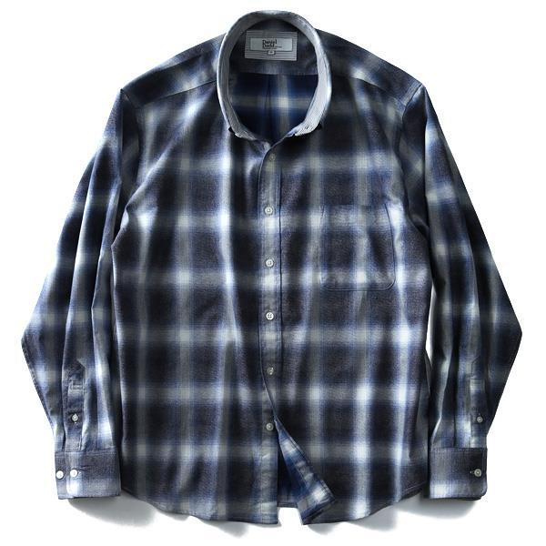 大きいサイズ メンズ DANIEL DODD シャツ 長袖 オンブレ チェック レギュラーシャツ azsh-180118