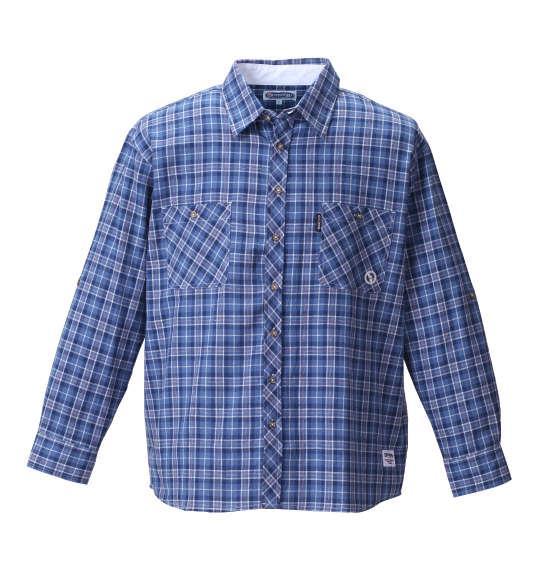 大きいサイズ メンズ OUTDOOR PRODUCTS ロールアップ長袖チェックシャツ ネイビー × ブルー 1157-8101-2 3L 4L 5L 6L 8L