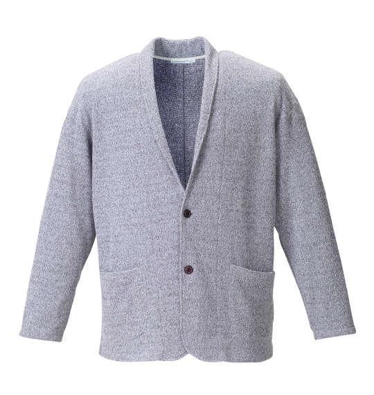 大きいサイズ メンズ launching pad 甘編み ワッフル ショール カーディガン + 半袖Tシャツ セット グレー杢 × ホワイト 1158-8100-1 3L 4L 5L 6L