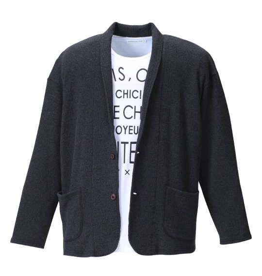 大きいサイズ メンズ launching pad 甘編み ワッフル ショール カーディガン + 半袖Tシャツ セット ブラック杢 × ホワイト 1158-8100-2 3L 4L 5L 6L