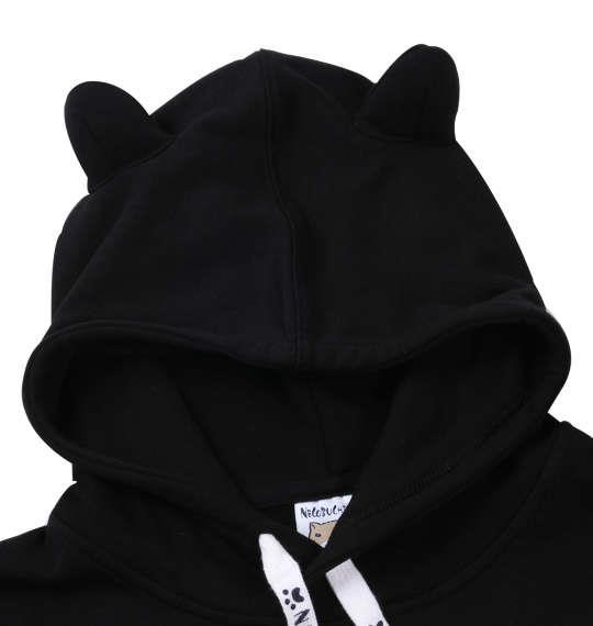 大きいサイズ メンズ NECOBUCHI-SAN 裏毛 耳付 サガラ刺繍 プルパーカー 長袖 パーカー ブラック 1158-8120-2 3L 4L 5L 6L