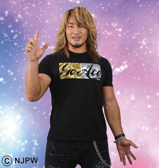 大きいサイズ メンズ 新日本プロレス 棚橋弘至「Go Ace」半袖Tシャツ (ブラック × カモフラ柄) ブラック 1178-8110-1 3L 4L 5L 6L 8L