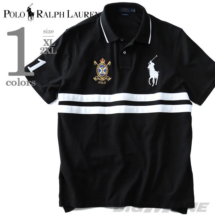 大きいサイズ メンズ POLO RALPH LAUREN ポロ ラルフローレン 半袖 刺繍付き ビッグポニー 鹿の子 ポロシャツ ブラック XL 2XL USA 直輸入 710660726