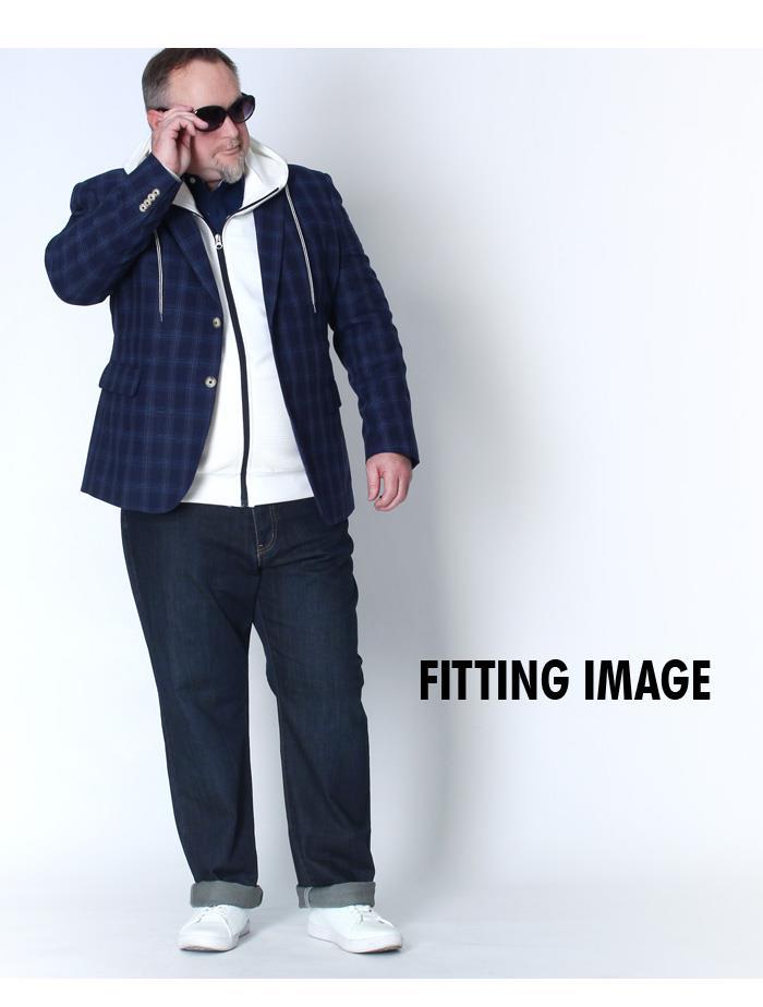 大きいサイズ メンズ SARTORIA BELLINI 綿麻 ネイビー チェック柄 ジャケット azjk3218303
