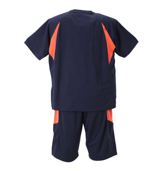 大きいサイズ メンズ Mc.S.P 吸汗速乾 半袖Tシャツ + ハーフパンツ 上下セット セットアップ 半袖 Tシャツ パンツ 短パン ボトムス ズボン ネイビー × オレンジ 1156-8200-1 3L 4L 5L 6L 8L