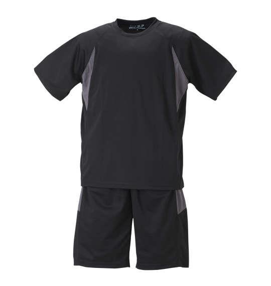 大きいサイズ メンズ Mc.S.P 吸汗速乾 半袖Tシャツ + ハーフパンツ 上下セット セットアップ 半袖 Tシャツ パンツ 短パン ボトムス ズボン ブラック × チャコール 1156-8200-4 3L 4L 5L 6L 8L