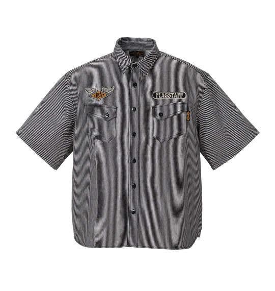 大きいサイズ メンズ FLAGSTAFF 半袖 シャツ ヒッコリーシャツ 半袖シャツ ブラック × ホワイト 1157-8220-1 3L 4L 5L 6L 8L