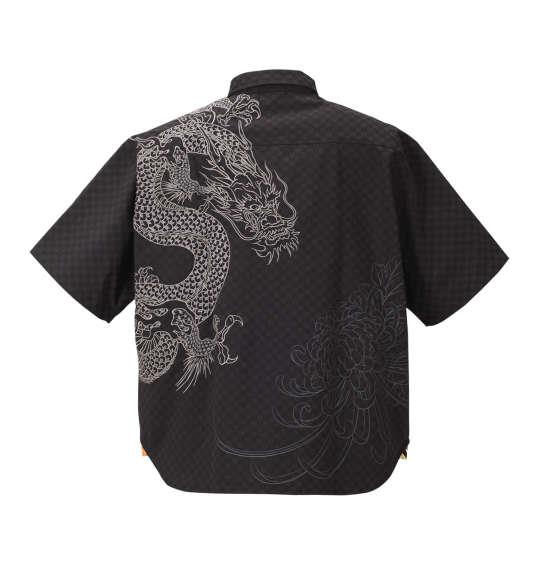 大きいサイズ メンズ 絡繰魂 菊に龍神 刺繍 半袖 シャツ ジャガード 半袖シャツ ブラック 1157-8230-1 3L 4L 5L 6L