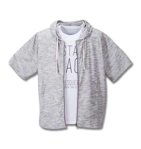 大きいサイズ メンズ launching pad 甘編み タック ボーダー 半袖パーカー + 半袖Tシャツ セット グレー杢 × ホワイト 1158-8210-1 3L 4L 5L 6L