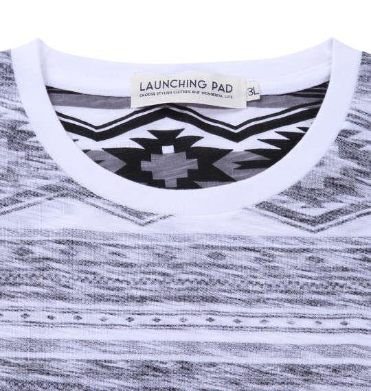大きいサイズ メンズ launching pad 裏 プリント オルテガ ボーダー 半袖 Tシャツ 半袖Tシャツ グレー系 1158-8213-1 3L 4L 5L 6L