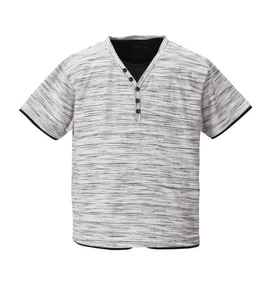 大きいサイズ メンズ Mc.S.P フェイク レイヤード Yネック ヘンリー 半袖 Tシャツ 半袖Tシャツ ホワイト杢 1158-8225-1 3L 4L 5L 6L 8L 10L