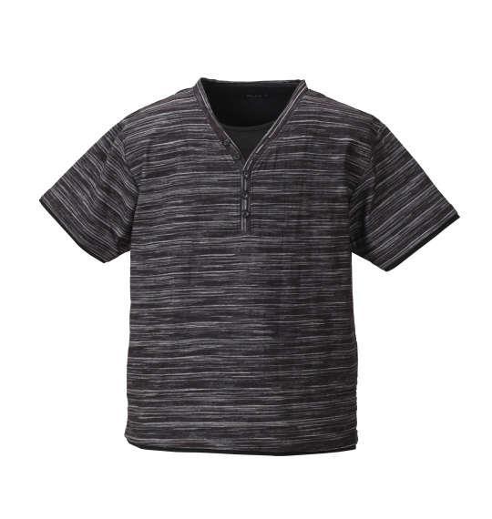 大きいサイズ メンズ Mc.S.P フェイク レイヤード Yネック ヘンリー 半袖 Tシャツ 半袖Tシャツ ブラック杢 1158-8225-2 3L 4L 5L 6L 8L 10L