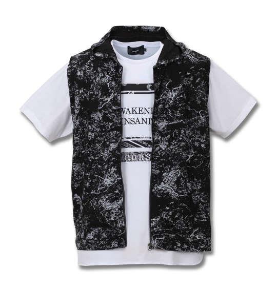 大きいサイズ メンズ BEAUMERE 総柄 ノースリーブ パーカー + 裾ラウンド 半袖Tシャツ セット ブラック × ホワイト 1158-8250-1 3L 4L 5L 6L