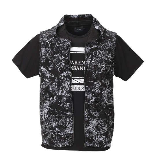 大きいサイズ メンズ BEAUMERE 総柄 ノースリーブパーカー + 裾ラウンド 半袖Tシャツ セット ブラック × ブラック 1158-8250-2 3L 4L 5L 6L