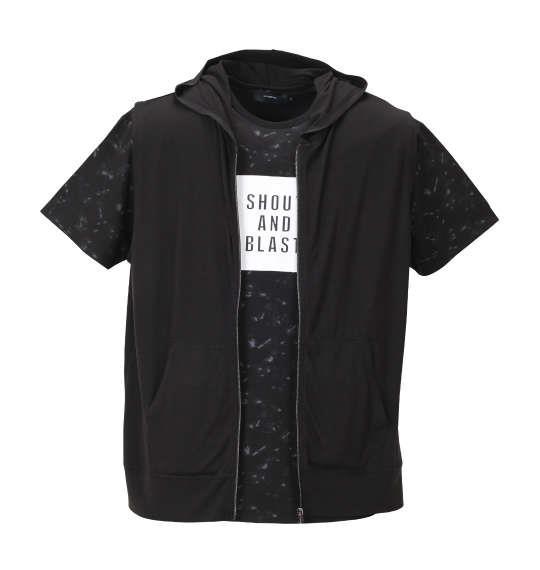 大きいサイズ メンズ BEAUMERE ノースリーブパーカー+総柄裾ラウンド半袖Tシャツ セット ブラック × ブラック 1158-8251-2 3L 4L 5L 6L