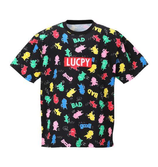大きいサイズ メンズ LUCPY 総柄 半袖 Tシャツ 半袖Tシャツ ブラック 1158-8255-2 3L 4L 5L 6L
