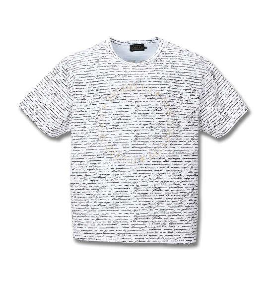 大きいサイズ メンズ GLADIATE 総柄 プリント 刺繍 半袖 Tシャツ 半袖Tシャツ ホワイト 1158-8505-1 3L 4L 5L 6L