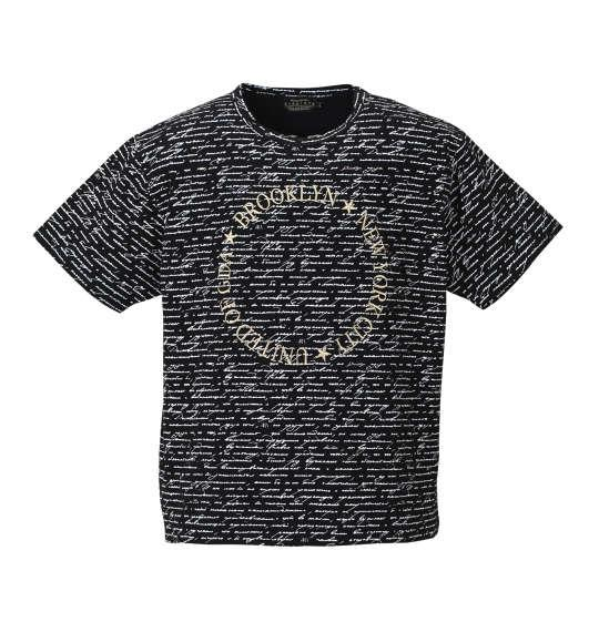 大きいサイズ メンズ GLADIATE 総柄 プリント 刺繍 半袖 Tシャツ 半袖Tシャツ ブラック 1158-8505-2 3L 4L 5L 6L