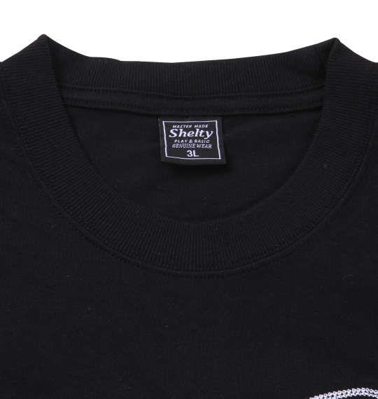 大きいサイズ メンズ SHELTY 手書き風 チェーン 刺繍 半袖 Tシャツ 半袖Tシャツ ブラック 1158-8510-2 3L 4L 5L 6L 8L