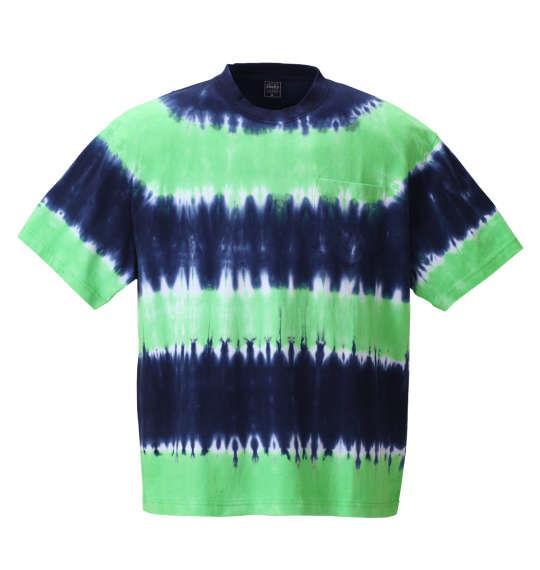大きいサイズ メンズ SHELTY タイダイ ボーダー ポケット付 半袖 Tシャツ 半袖Tシャツ ネイビー × グリーン 1158-8513-1 3L 4L 5L 6L 8L