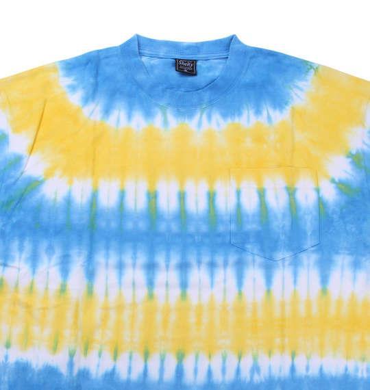 大きいサイズ メンズ SHELTY タイダイ ボーダー ポケット付 半袖 Tシャツ 半袖Tシャツ ターコイズ × イエロー 1158-8513-2 3L 4L 5L 6L 8L