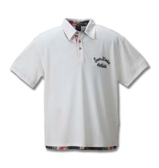 大きいサイズ メンズ SHELTY 鹿の子 ボタニカル 切替 半袖 ポロシャツ オフホワイト 1158-8514-1 3L 4L 5L 6L 8L