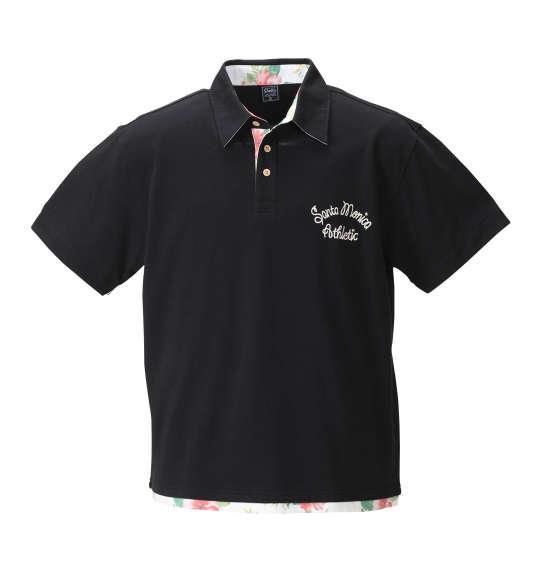 大きいサイズ メンズ SHELTY 鹿の子 ボタニカル 切替 半袖 ポロシャツ ブラック 1158-8514-2 3L 4L 5L 6L 8L