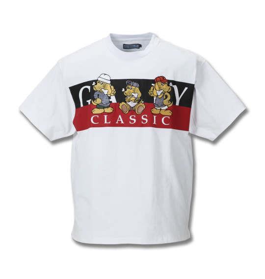大きいサイズ メンズ GALFY 刺繍 半袖 Tシャツ パーカー ホワイト 1158-8540-1 3L 4L 5L 6L