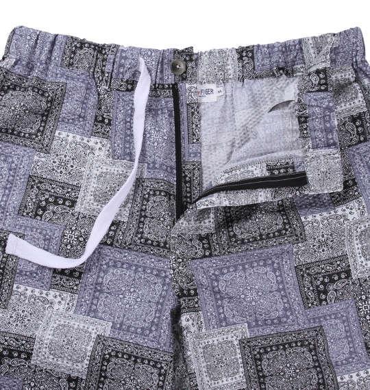 大きいサイズ メンズ H by FIGER リップル バンダナ柄 ハーフパンツ ボトムス ズボン パンツ 短パンブラック × グレー 1164-8201-2 3L 4L 5L 6L 8L
