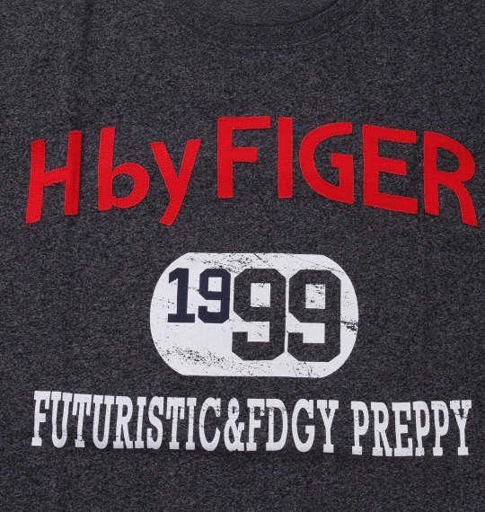 大きいサイズ メンズ H by FIGER 粗杢 天竺 半袖 Tシャツ 半袖Tシャツ ブラック杢 1168-8251-2 3L 4L 5L 6L 8L