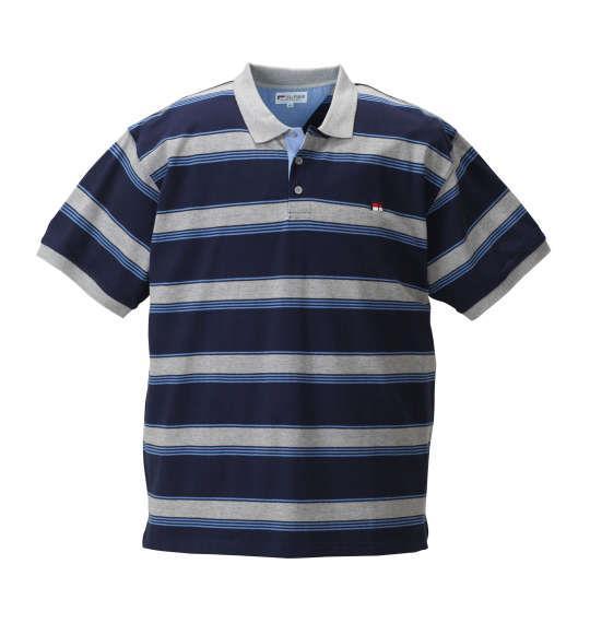 大きいサイズ メンズ H by FIGER 鹿の子 ボーダー 半袖 ポロシャツ ネイビー × モクグレー 1168-8252-2 3L 4L 5L 6L 8L
