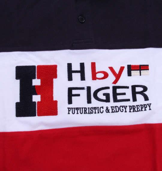 大きいサイズ メンズ H by FIGER 切替 鹿の子 半袖 ポロシャツ レッド × ネイビー 1168-8253-1 3L 4L 5L 6L 8L