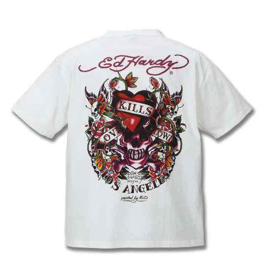 大きいサイズ メンズ Ed Hardy プリント半袖Tシャツ オフホワイト 1178-8225-1 3L 4L 5L 6L 8L