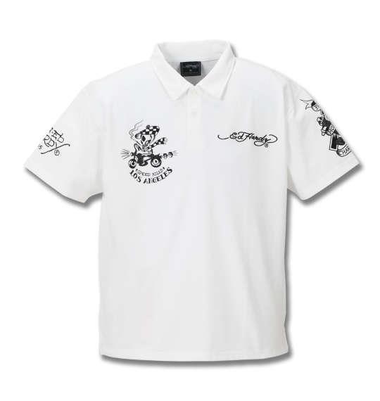 大きいサイズ メンズ Ed Hardy 鹿の子刺繍&プリント半袖ポロシャツ オフホワイト 1178-8227-1 3L 4L 5L 6L 8L
