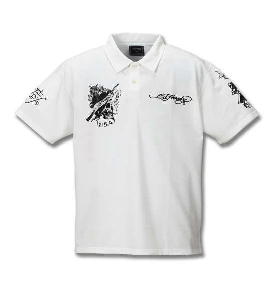 大きいサイズ メンズ Ed Hardy 鹿の子刺繍&プリント半袖ポロシャツ オフホワイト 1178-8228-1 3L 4L 5L 6L 8L