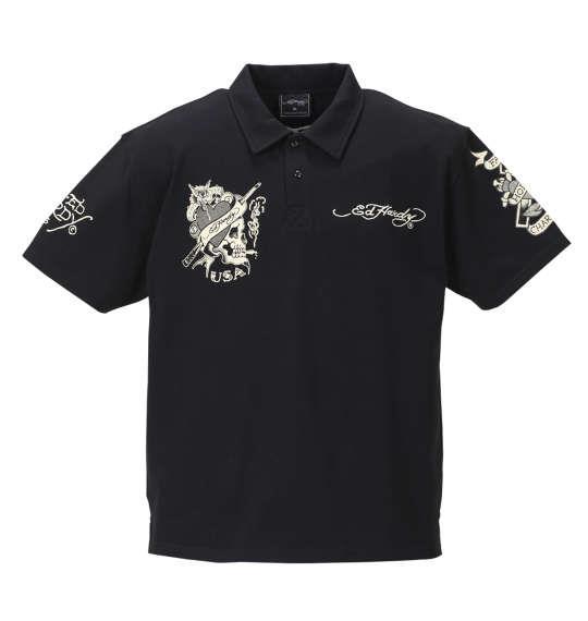 大きいサイズ メンズ Ed Hardy 鹿の子刺繍&プリント半袖ポロシャツ ブラック 1178-8228-2 3L 4L 5L 6L 8L