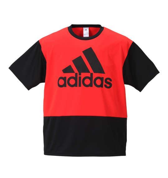 大きいサイズ メンズ adidas カラーブロック切替半袖Tシャツ ブラック × ハイレゾレッド 1178-8241-2 3XO 4XO 5XO 6XO 7XO 8XO