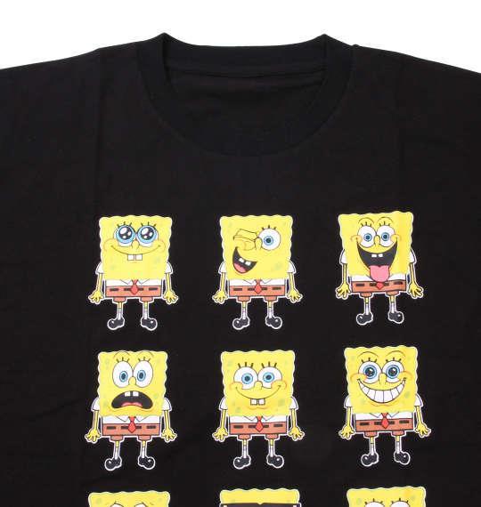大きいサイズ メンズ SPONGEBOB 半袖Tシャツ ブラック 1178-8510-2 3L 4L 5L 6L 8L
