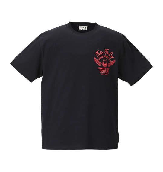 大きいサイズ メンズ FELIX THE CAT チェーン刺繍&プリント半袖Tシャツ ブラック × レッド 1178-8570-2 3L 4L 5L 6L 8L